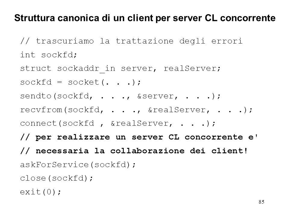 Struttura canonica di un client per server CL concorrente