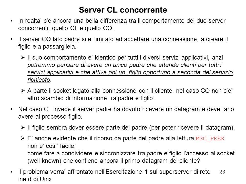 Server CL concorrenteIn realta' c'e ancora una bella differenza tra il comportamento dei due server concorrenti, quello CL e quello CO.
