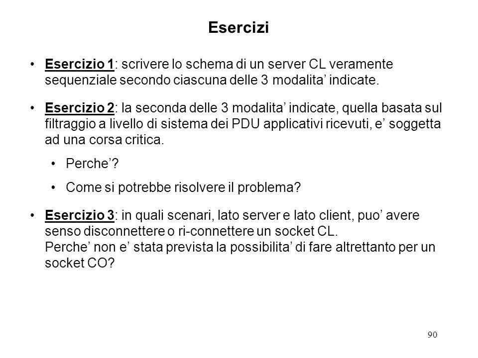 Esercizi Esercizio 1: scrivere lo schema di un server CL veramente sequenziale secondo ciascuna delle 3 modalita' indicate.