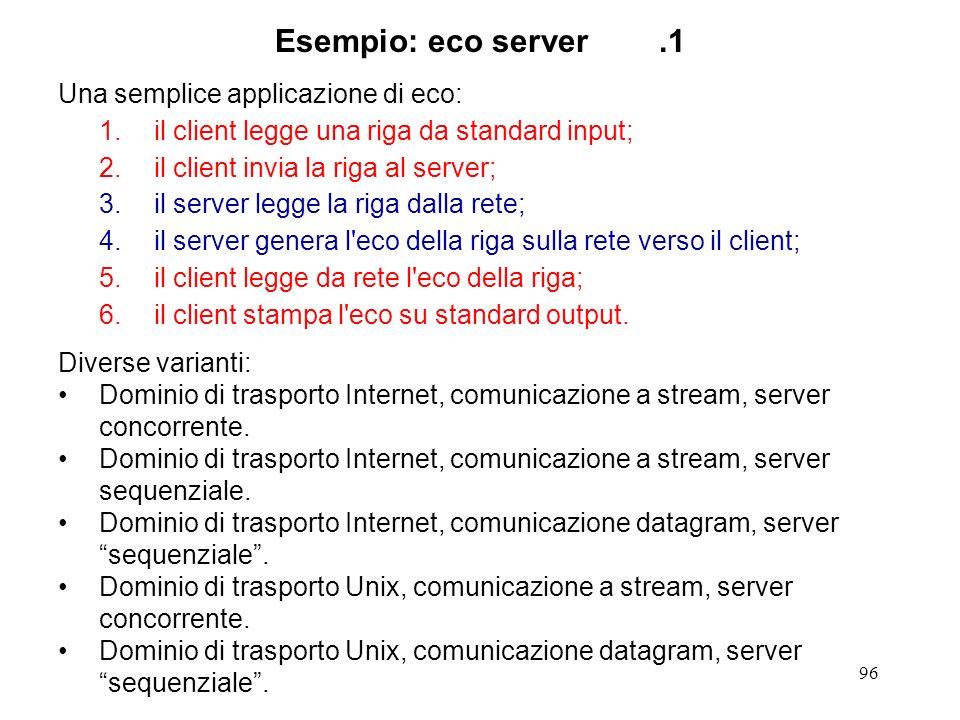 Esempio: eco server .1 Una semplice applicazione di eco: