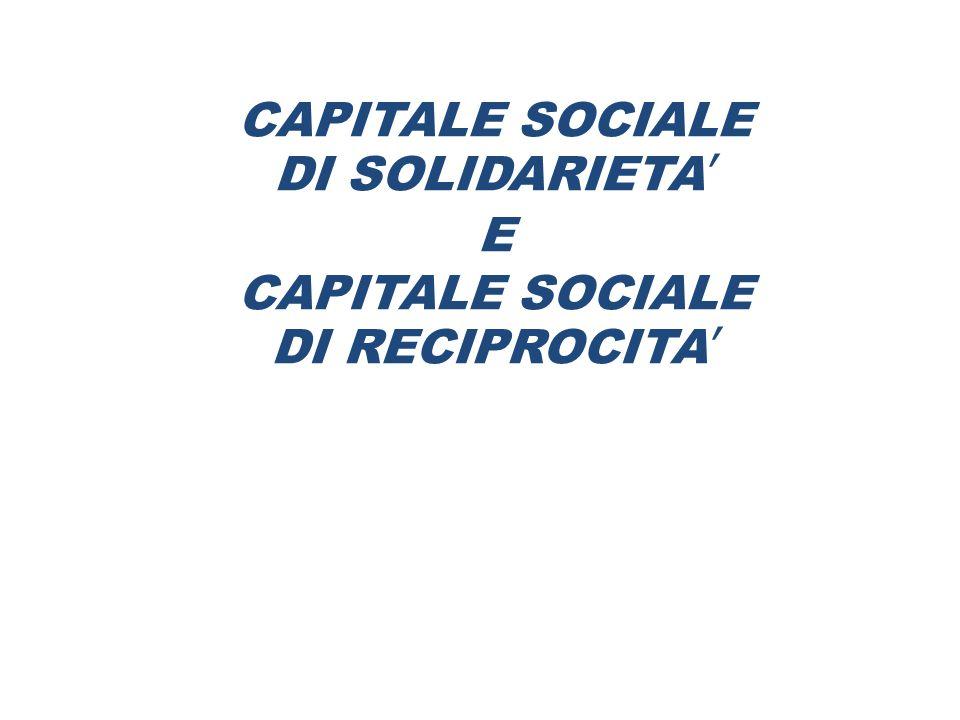 CAPITALE SOCIALE DI SOLIDARIETA' E DI RECIPROCITA'