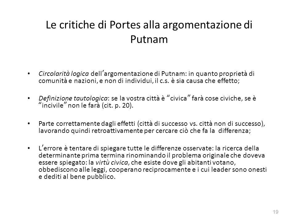 Le critiche di Portes alla argomentazione di Putnam