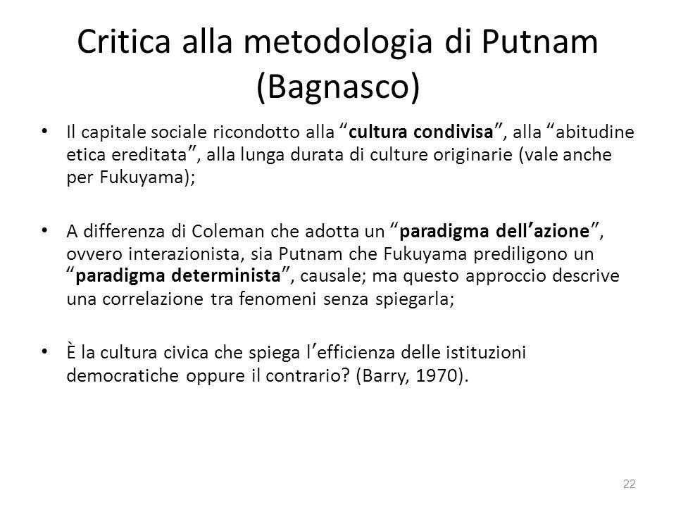 Critica alla metodologia di Putnam (Bagnasco)