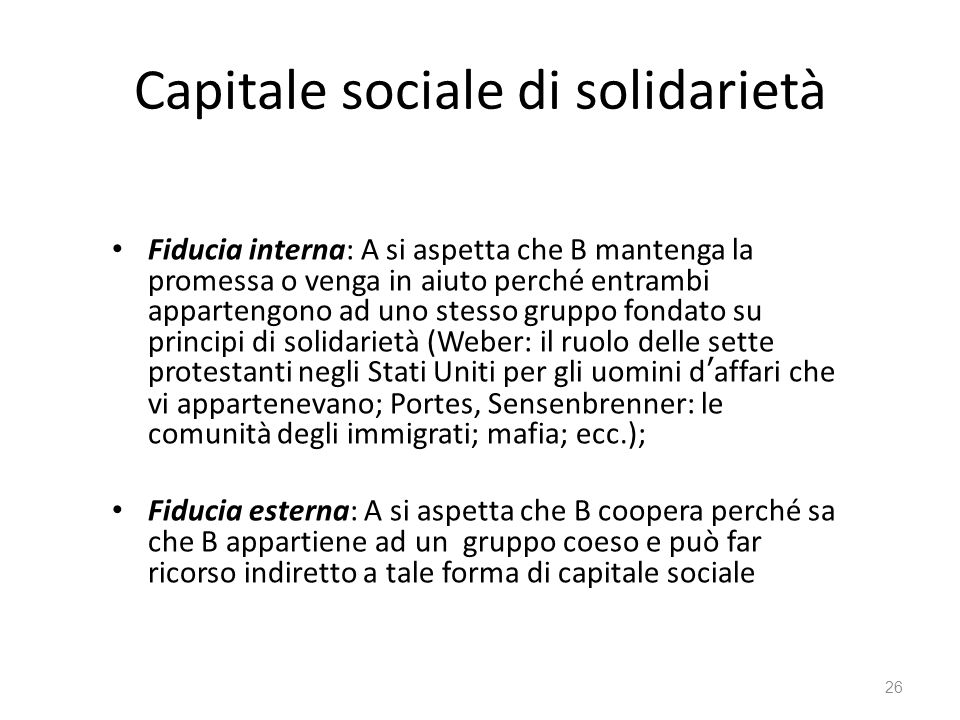 Capitale sociale di solidarietà