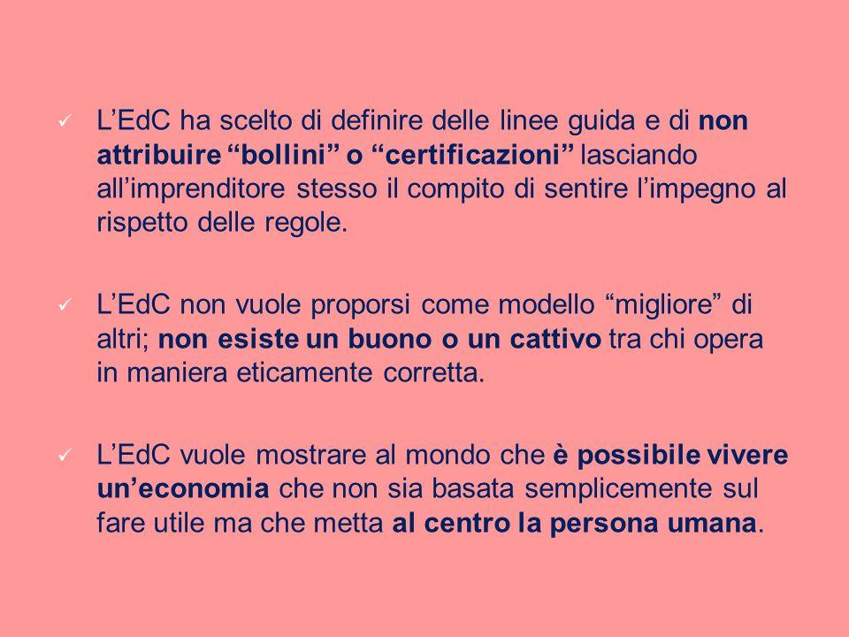 L'EdC ha scelto di definire delle linee guida e di non attribuire bollini o certificazioni lasciando all'imprenditore stesso il compito di sentire l'impegno al rispetto delle regole.