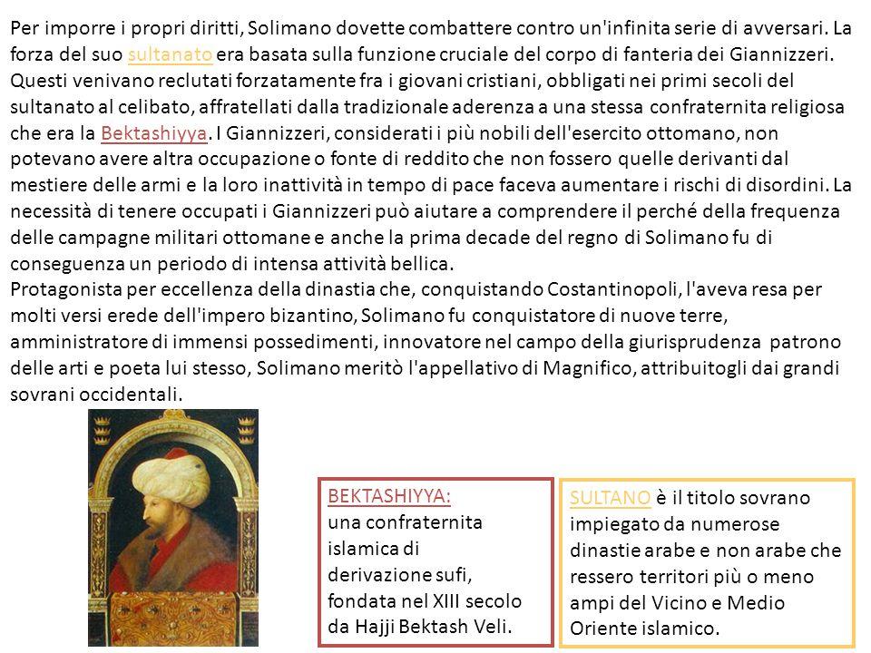 Per imporre i propri diritti, Solimano dovette combattere contro un infinita serie di avversari. La forza del suo sultanato era basata sulla funzione cruciale del corpo di fanteria dei Giannizzeri. Questi venivano reclutati forzatamente fra i giovani cristiani, obbligati nei primi secoli del sultanato al celibato, affratellati dalla tradizionale aderenza a una stessa confraternita religiosa che era la Bektashiyya. I Giannizzeri, considerati i più nobili dell esercito ottomano, non potevano avere altra occupazione o fonte di reddito che non fossero quelle derivanti dal mestiere delle armi e la loro inattività in tempo di pace faceva aumentare i rischi di disordini. La necessità di tenere occupati i Giannizzeri può aiutare a comprendere il perché della frequenza delle campagne militari ottomane e anche la prima decade del regno di Solimano fu di conseguenza un periodo di intensa attività bellica.