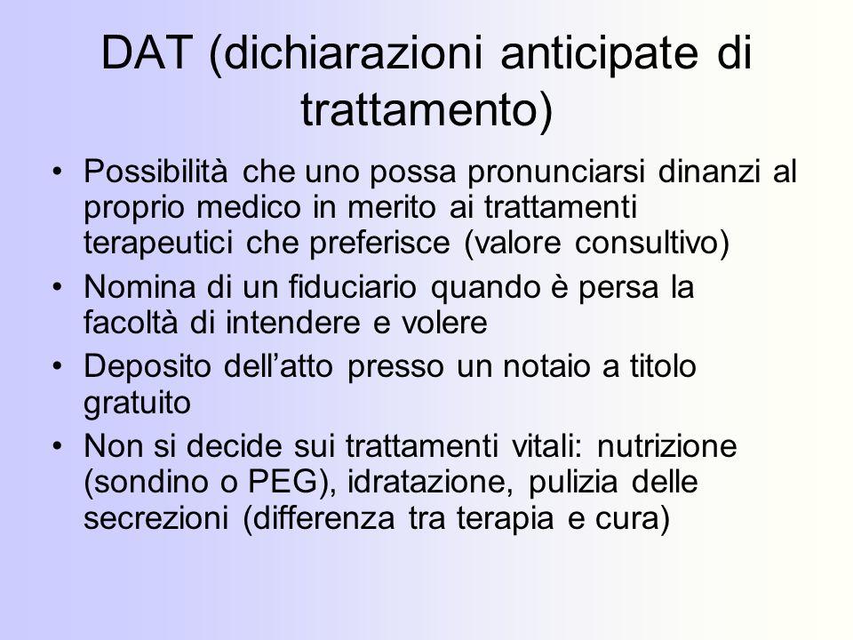 DAT (dichiarazioni anticipate di trattamento)