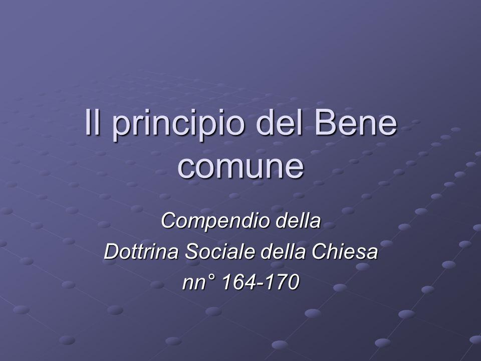 Il principio del Bene comune
