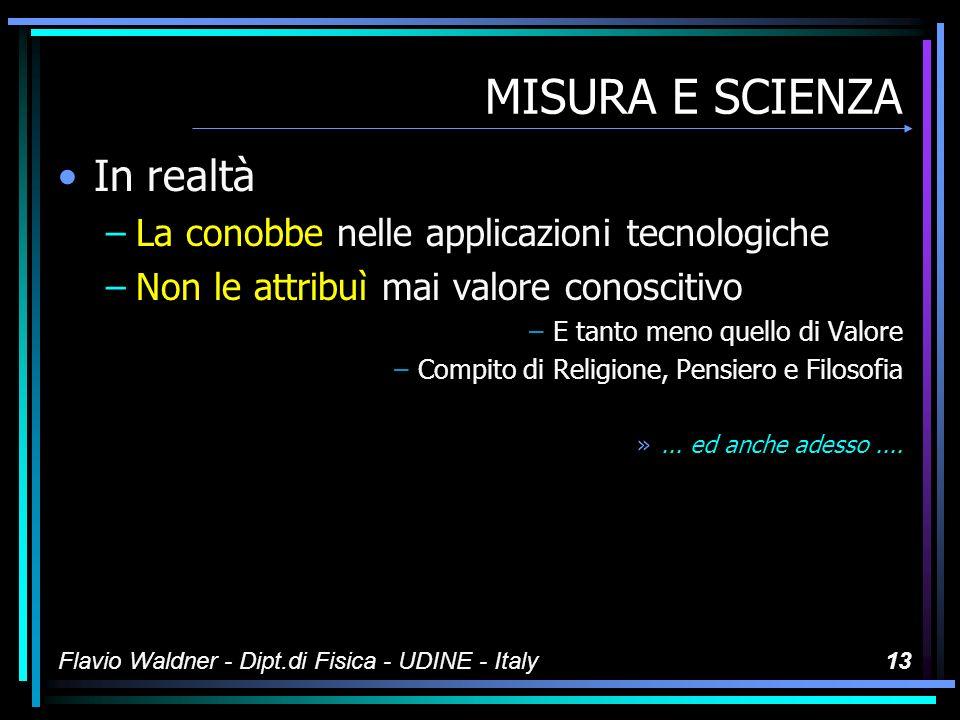 MISURA E SCIENZA In realtà La conobbe nelle applicazioni tecnologiche