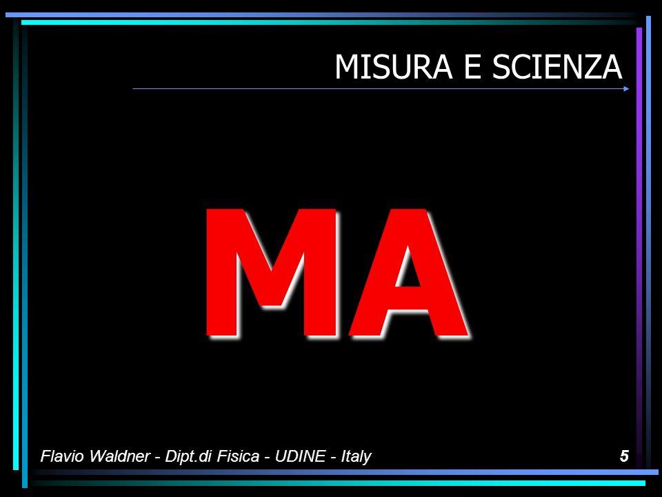 MISURA E SCIENZA MA Flavio Waldner - Dipt.di Fisica - UDINE - Italy