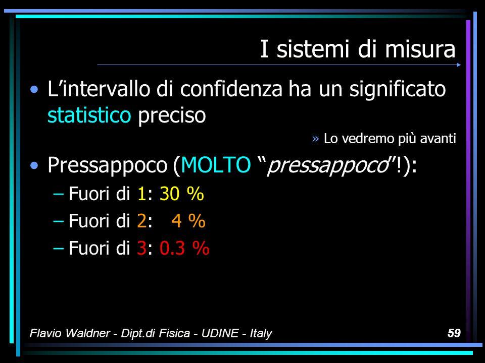 I sistemi di misura L'intervallo di confidenza ha un significato statistico preciso. Lo vedremo più avanti.