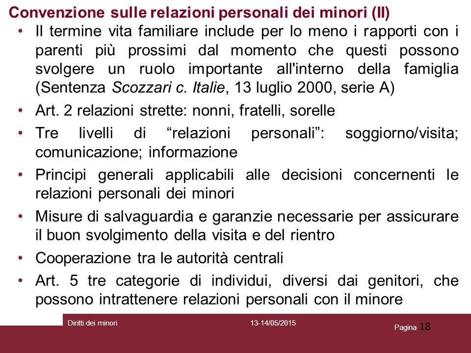 Convenzione sulle relazioni personali dei minori (II)