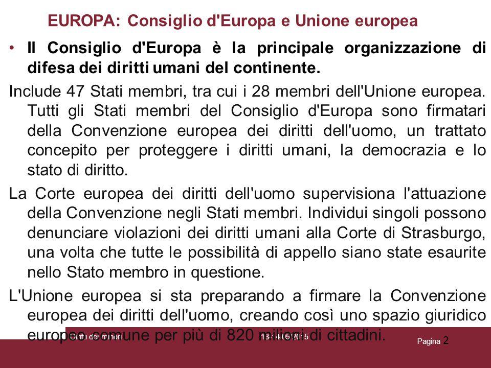 EUROPA: Consiglio d Europa e Unione europea