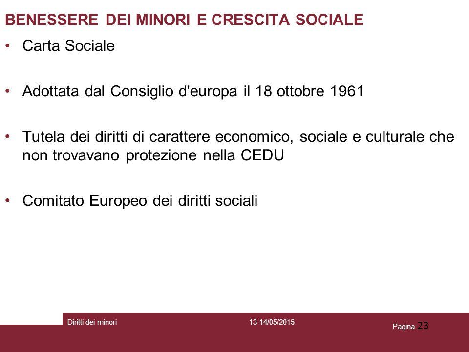 BENESSERE DEI MINORI E CRESCITA SOCIALE
