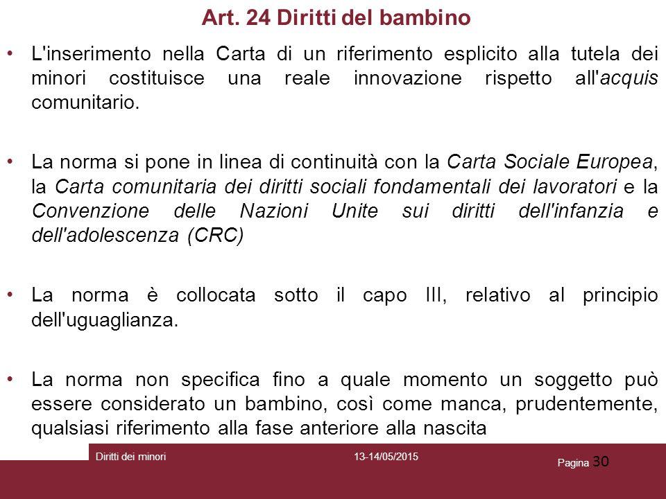 Art. 24 Diritti del bambino