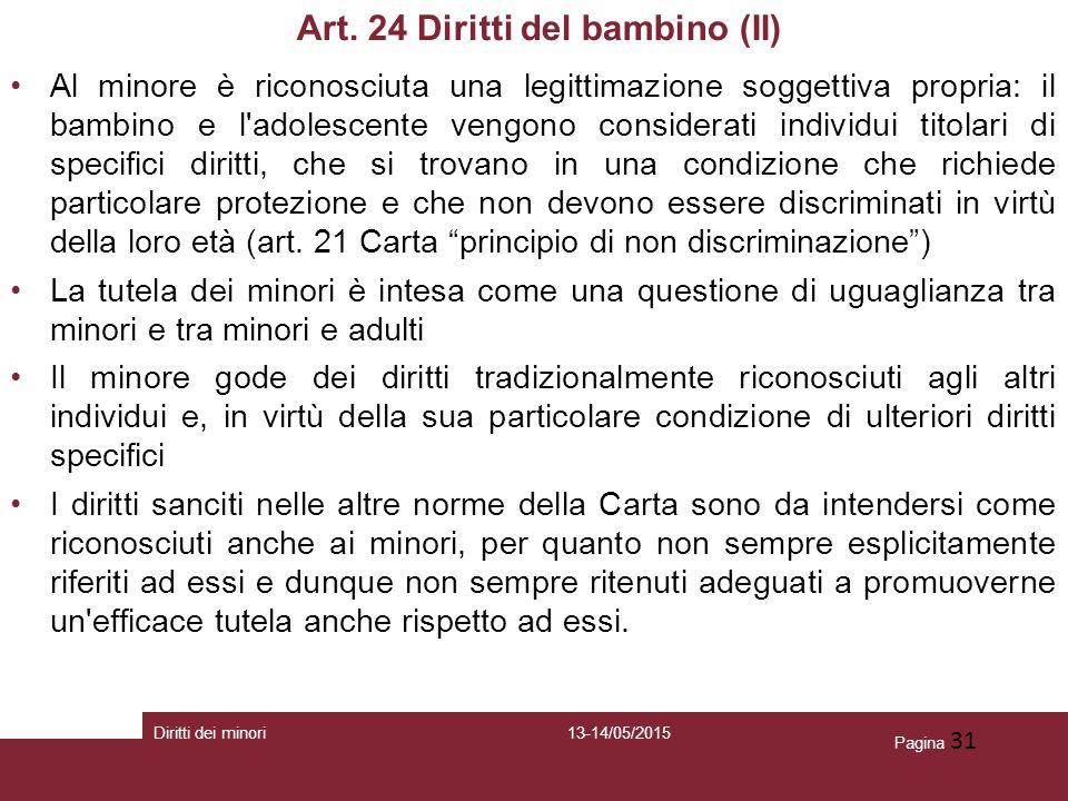 Art. 24 Diritti del bambino (II)