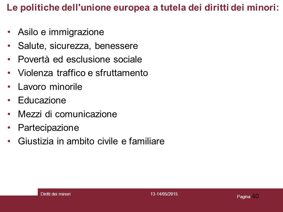 Le politiche dell unione europea a tutela dei diritti dei minori: