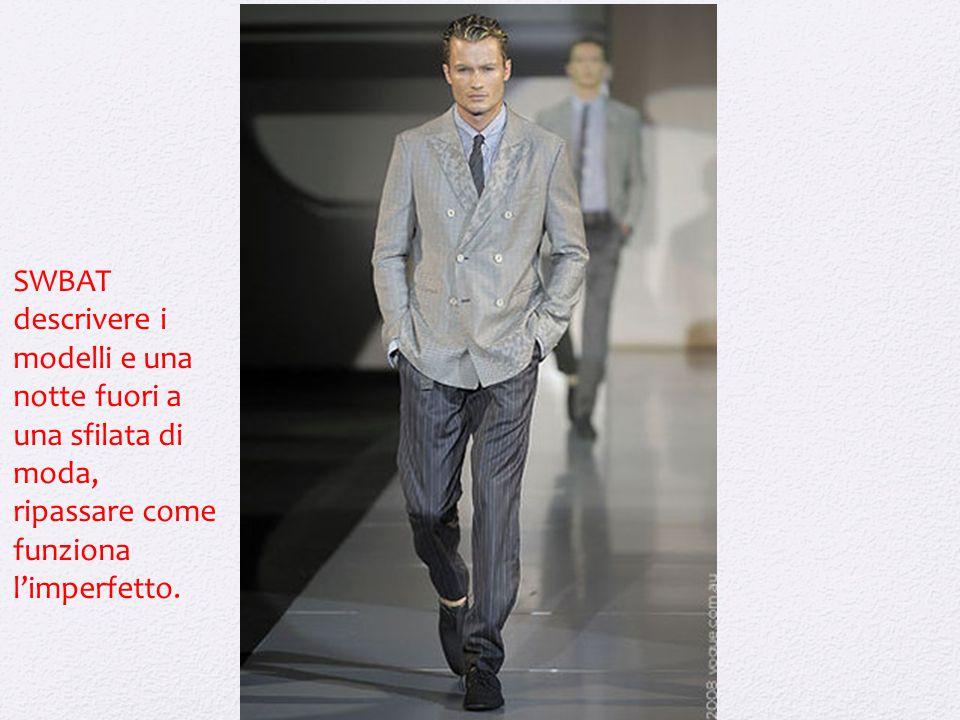 SWBAT descrivere i modelli e una notte fuori a una sfilata di moda, ripassare come funziona l'imperfetto.