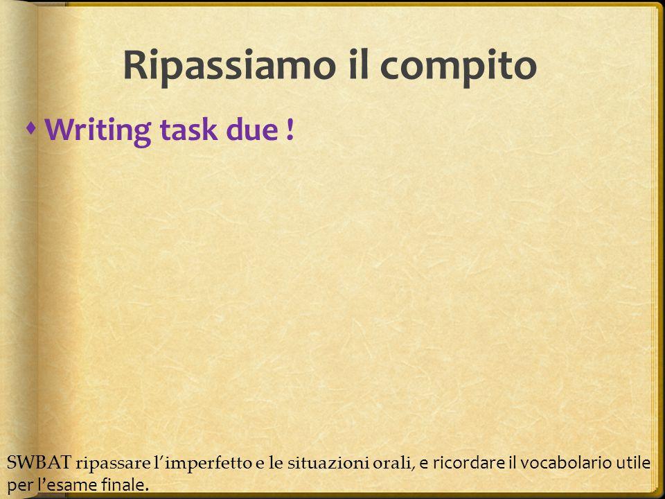 Ripassiamo il compito Writing task due !