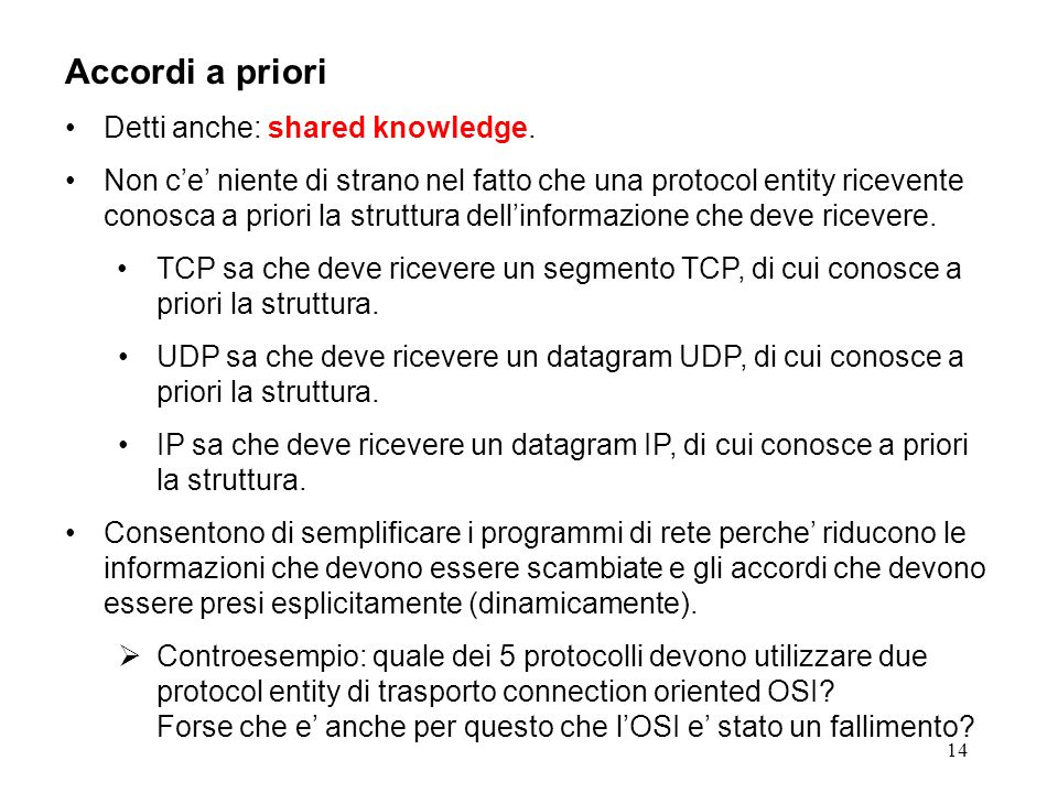 Accordi a priori Detti anche: shared knowledge.