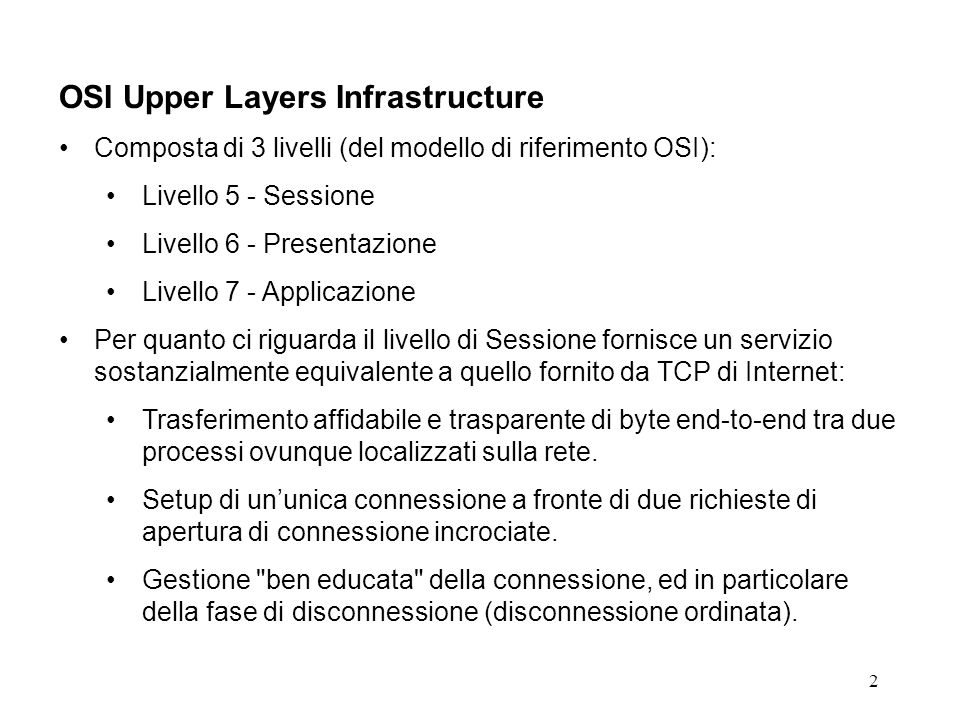 OSI Upper Layers Infrastructure