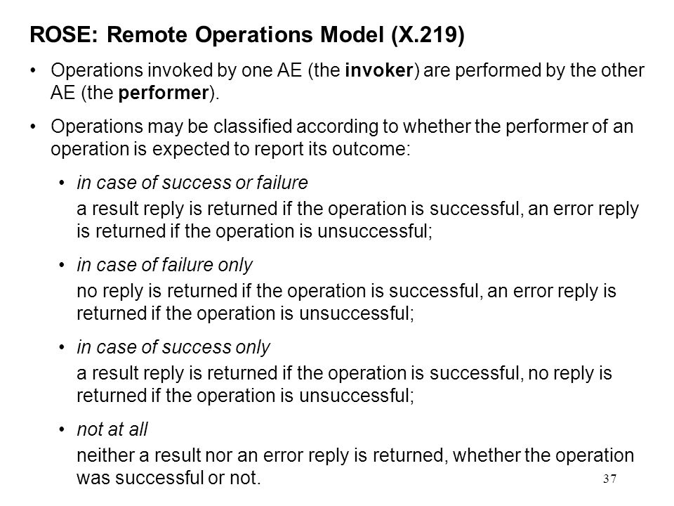 ROSE: Remote Operations Model (X.219)