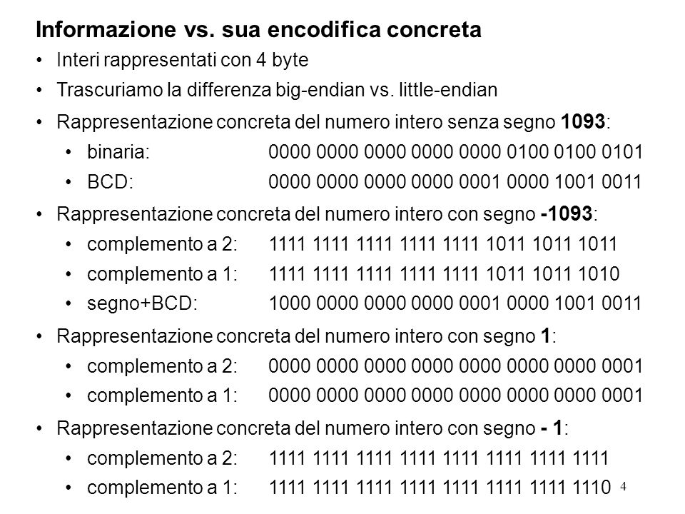 Informazione vs. sua encodifica concreta