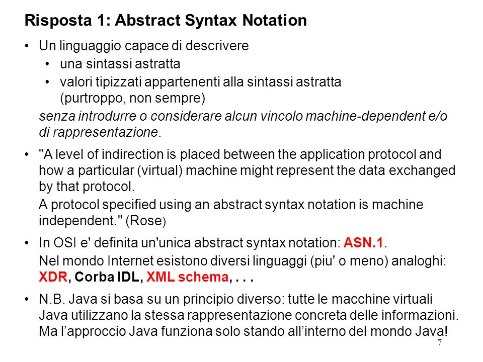 Risposta 1: Abstract Syntax Notation