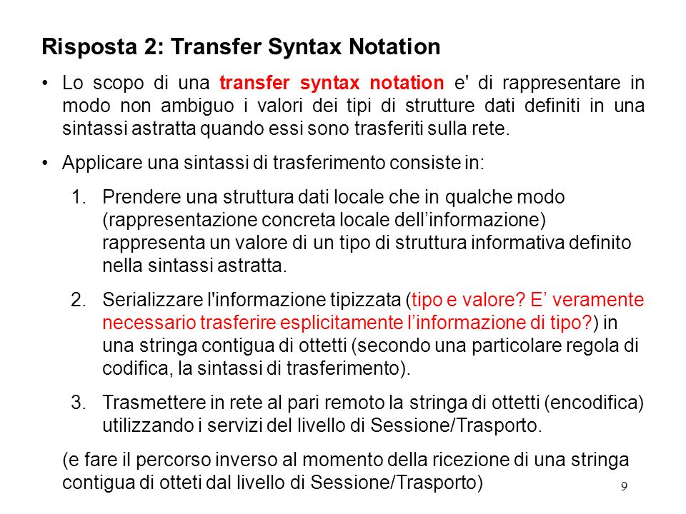 Risposta 2: Transfer Syntax Notation