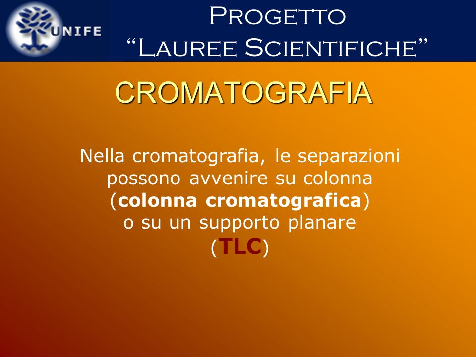 CROMATOGRAFIA Progetto Lauree Scientifiche