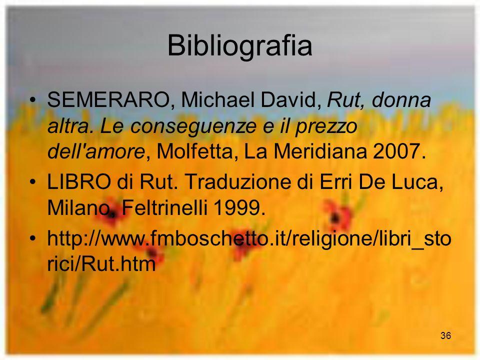 Bibliografia SEMERARO, Michael David, Rut, donna altra. Le conseguenze e il prezzo dell amore, Molfetta, La Meridiana 2007.