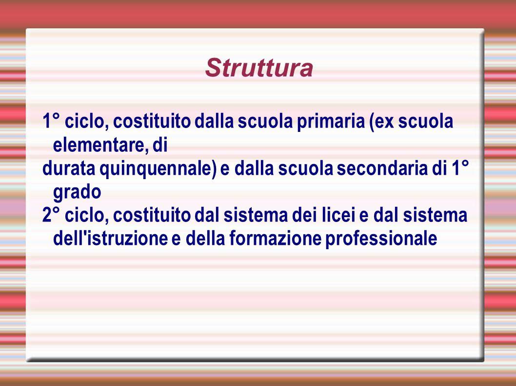Struttura 1° ciclo, costituito dalla scuola primaria (ex scuola elementare, di. durata quinquennale) e dalla scuola secondaria di 1° grado.