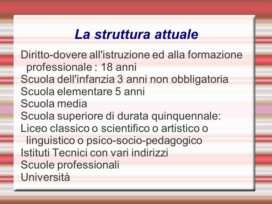 La struttura attualeDiritto-dovere all istruzione ed alla formazione professionale : 18 anni. Scuola dell infanzia 3 anni non obbligatoria.
