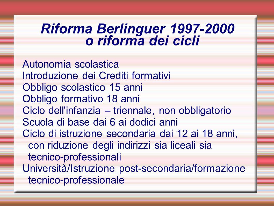 Riforma Berlinguer 1997-2000 o riforma dei cicli
