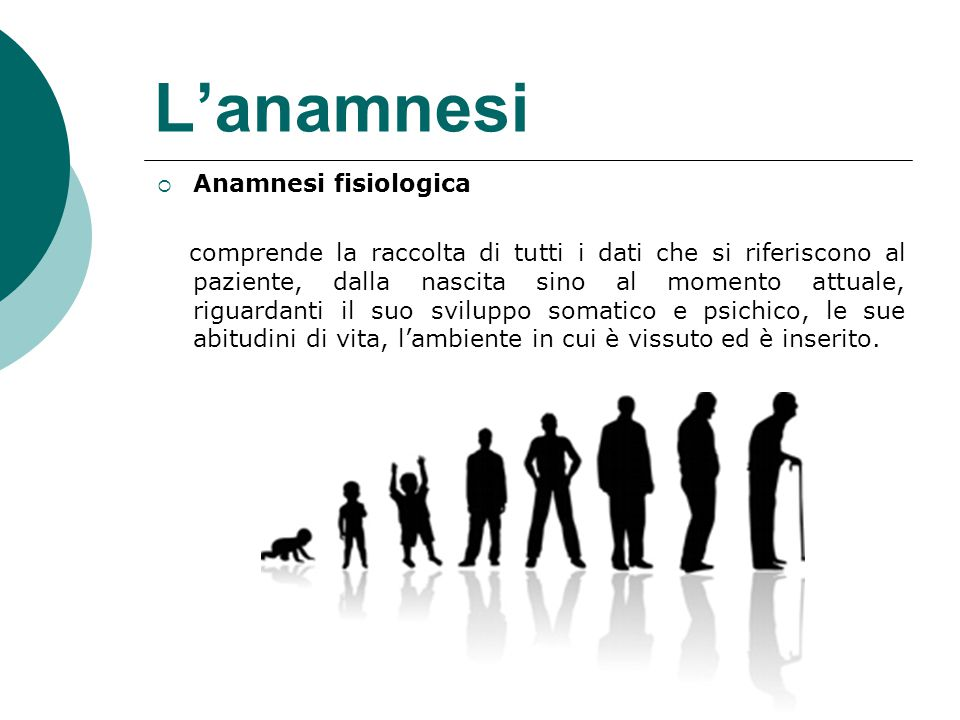 L'anamnesi Anamnesi fisiologica