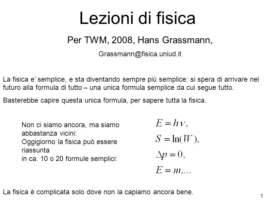 Lezioni di fisica Per TWM, 2008, Hans Grassmann,