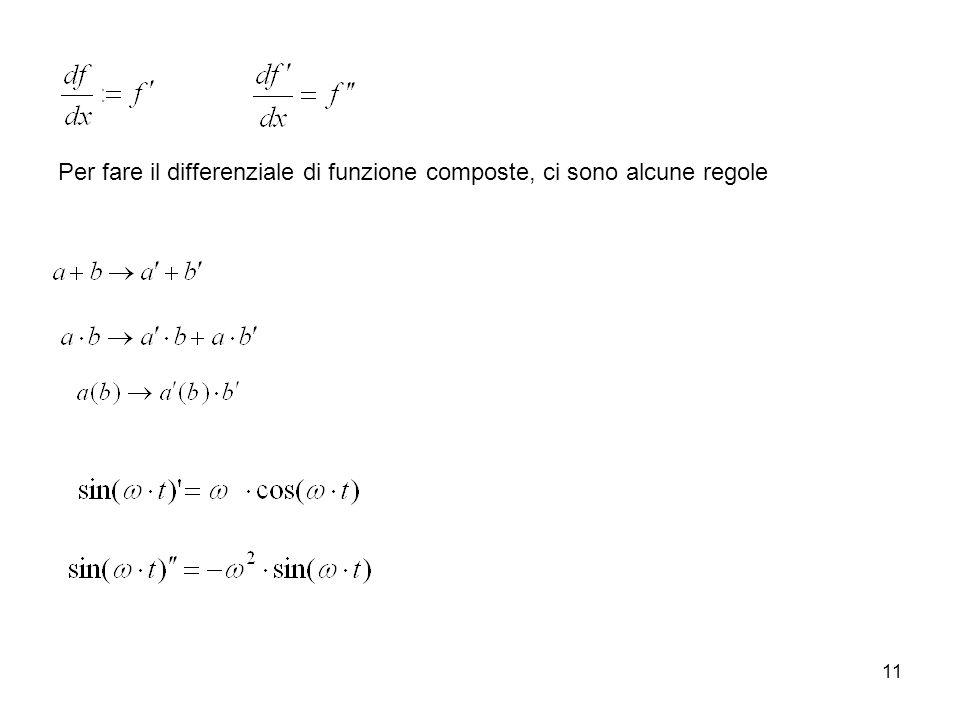 Per fare il differenziale di funzione composte, ci sono alcune regole
