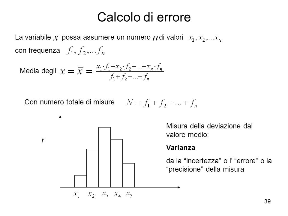 Calcolo di errore La variabile possa assumere un numero di valori