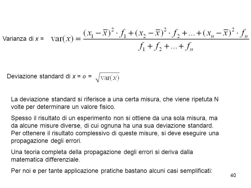 Varianza di x = Deviazione standard di x = s =