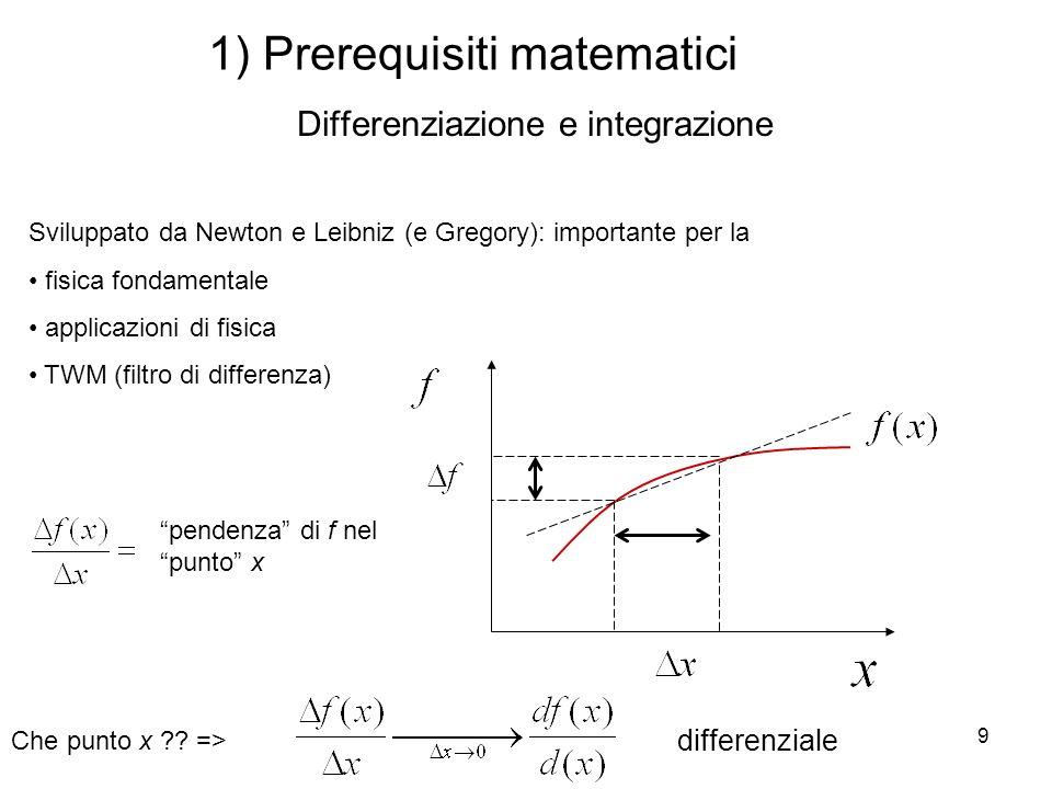 1) Prerequisiti matematici