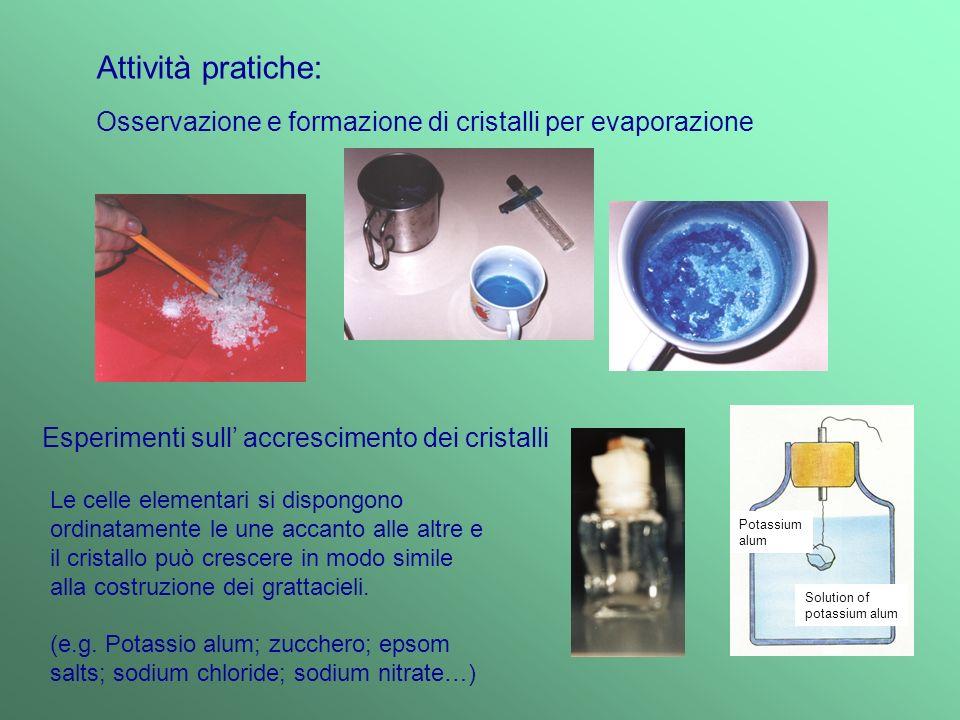 Attività pratiche: Osservazione e formazione di cristalli per evaporazione. Esperimenti sull' accrescimento dei cristalli.
