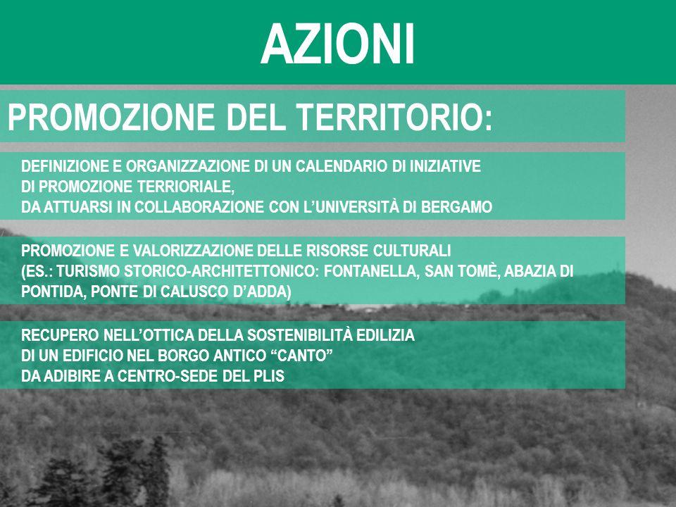 AZIONI PROMOZIONE DEL TERRITORIO:
