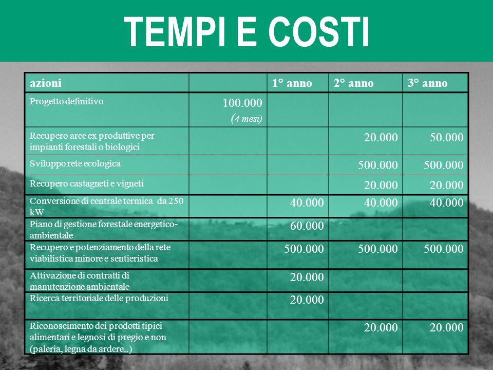 TEMPI E COSTI azioni 1° anno 2° anno 3° anno 100.000 (4 mesi) 20.000