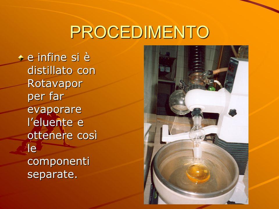 PROCEDIMENTO e infine si è distillato con Rotavapor per far evaporare l'eluente e ottenere così le componenti separate.