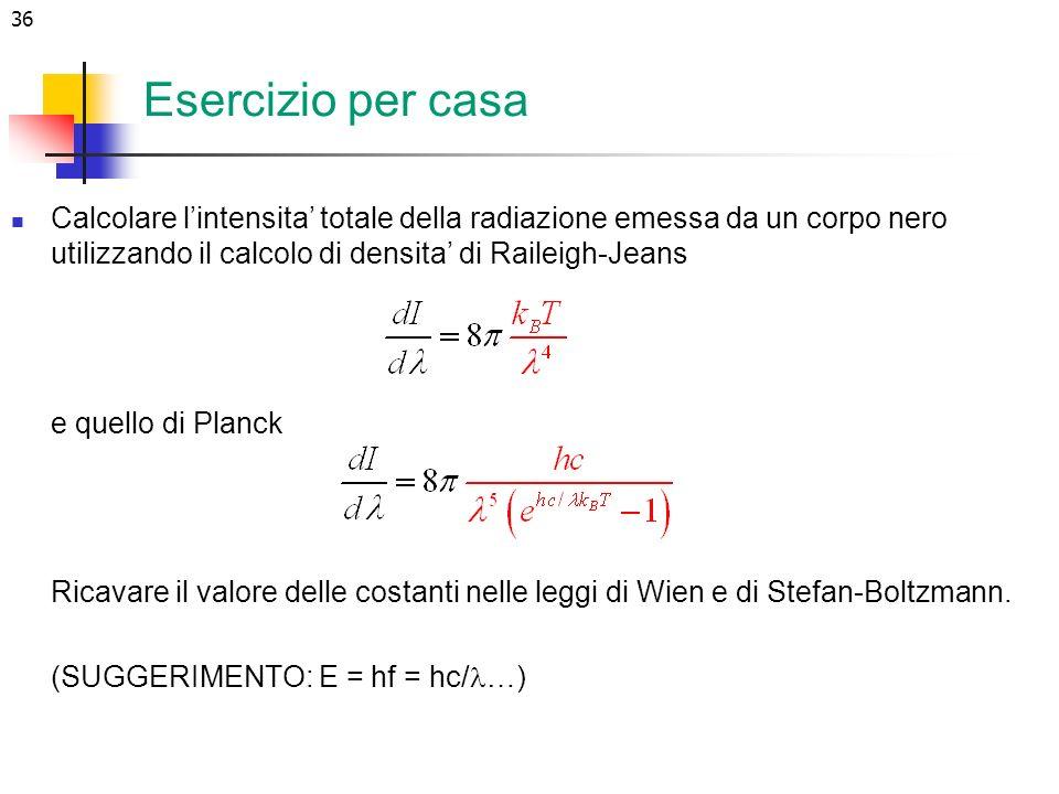 Esercizio per casa Calcolare l'intensita' totale della radiazione emessa da un corpo nero utilizzando il calcolo di densita' di Raileigh-Jeans.