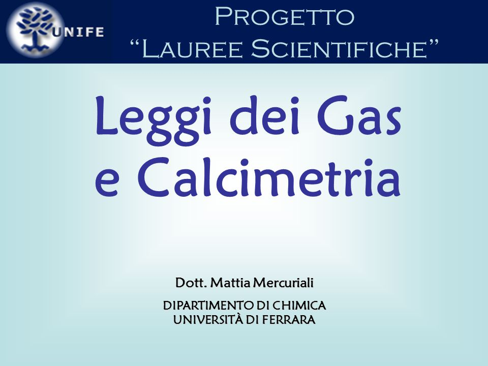 Leggi dei Gas e Calcimetria
