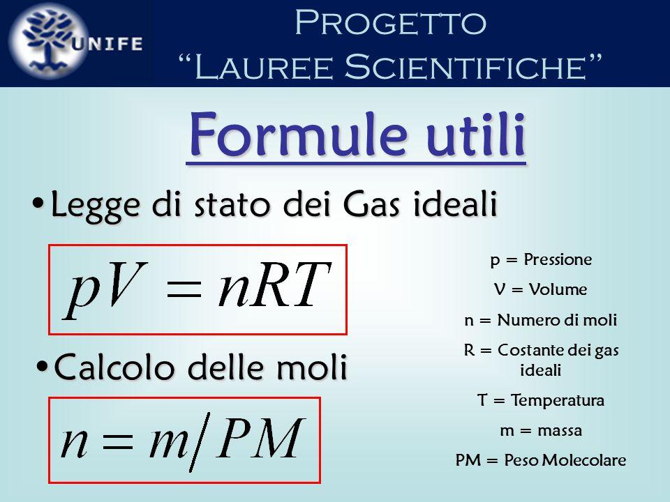 R = Costante dei gas ideali