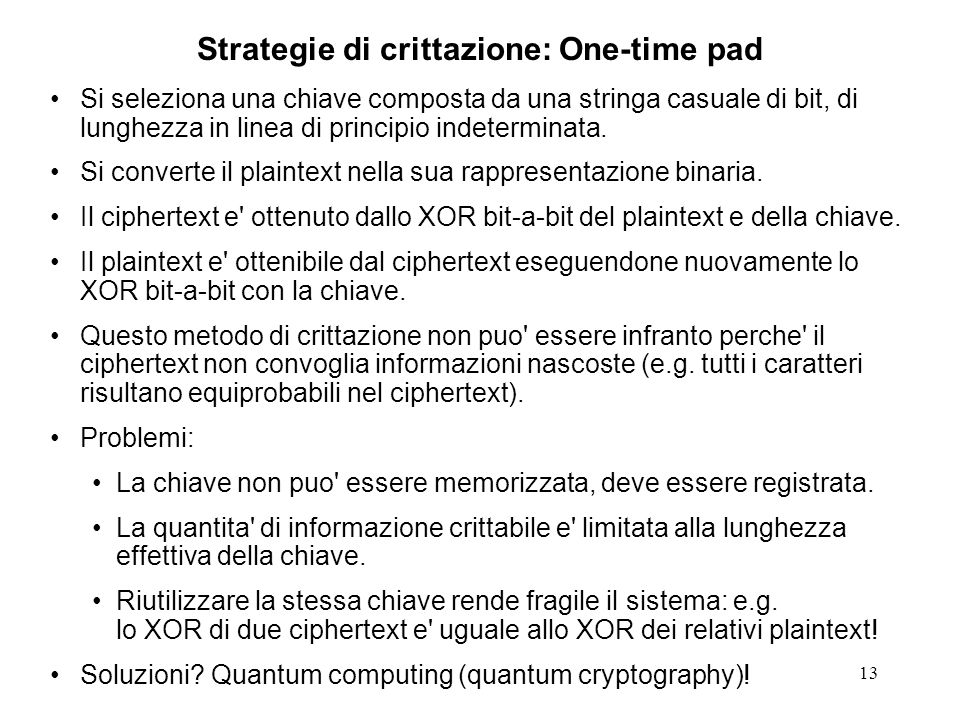 Strategie di crittazione: One-time pad