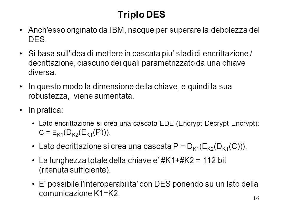 Triplo DES Anch esso originato da IBM, nacque per superare la debolezza del DES.