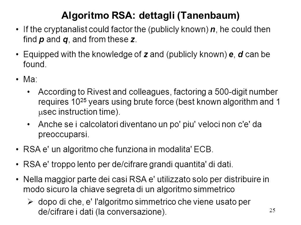 Algoritmo RSA: dettagli (Tanenbaum)